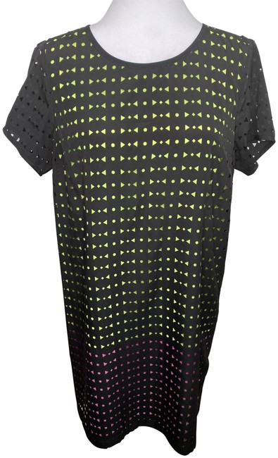 Item - Black and Neon Pink and Green Laser-cut Shift Mid-length Night Out Dress Size 8 (M)
