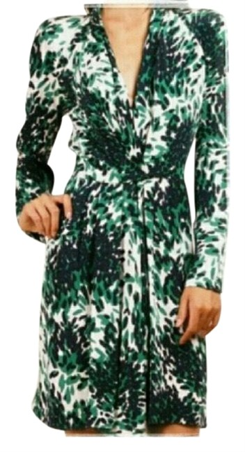 Item - Green Black White and Blue Mid-length Night Out Dress Size 8 (M)