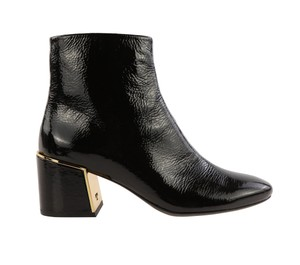 Tory Burch Patent Leather Leather Gold Hardware Black Boots