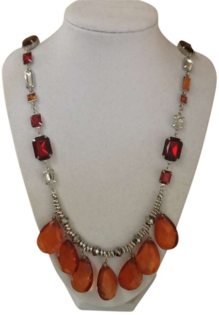 Item - Orange Red Clear Long Crystal Necklace