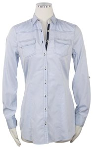 Massimo Dutti Pockets Preppy Signature Career Office Button Down Shirt Blue