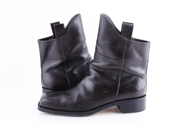 Item - Brown Coco Dark Square Toe Ankle Boots Shoes