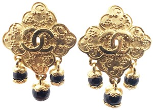 Chanel Chanel Vintage Gold Plated CC Argyle Black Stone Dangle Clip on Earrin
