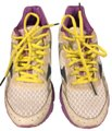 Mizuno white with purple trim and yellow shoelaces Athletic Image 0