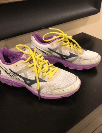 Mizuno white with purple trim and yellow shoelaces Athletic Image 1