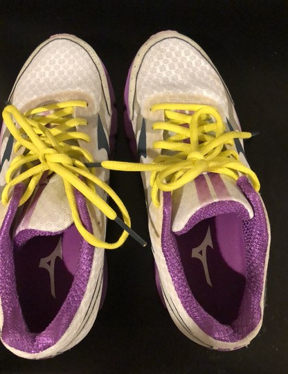 Mizuno white with purple trim and yellow shoelaces Athletic Image 10