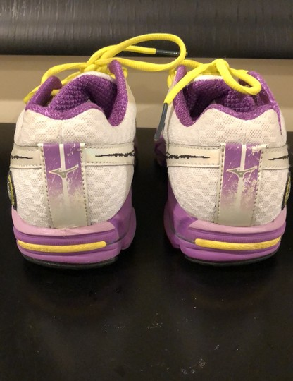 Mizuno white with purple trim and yellow shoelaces Athletic Image 3