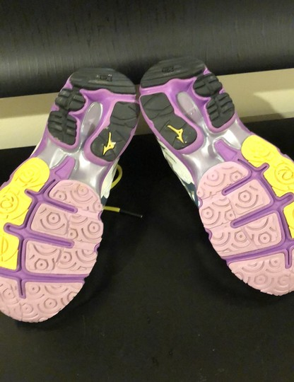 Mizuno white with purple trim and yellow shoelaces Athletic Image 4