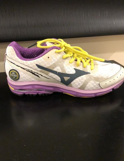 Mizuno white with purple trim and yellow shoelaces Athletic Image 5