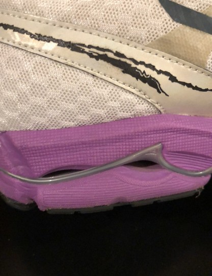Mizuno white with purple trim and yellow shoelaces Athletic Image 8
