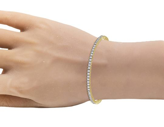 Jewelry Unlimited Yellow Gold Tennis 2 Pointer Illusion Set Diamond Bracelet 7