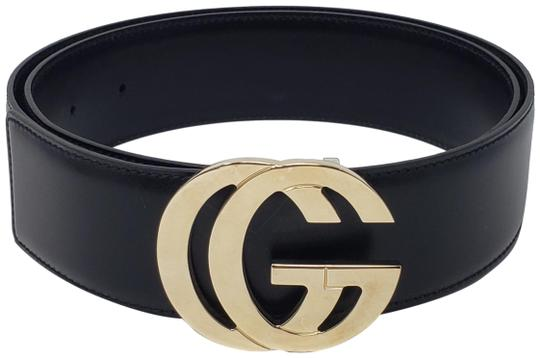 Gucci Black leather Gucci gold-tone GG logo hip belt Image 0