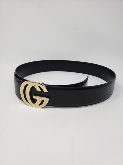 Gucci Black leather Gucci gold-tone GG logo hip belt Image 10