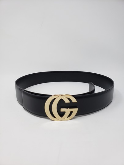 Gucci Black leather Gucci gold-tone GG logo hip belt Image 2