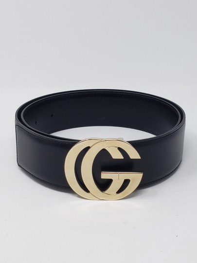 Gucci Black leather Gucci gold-tone GG logo hip belt Image 3