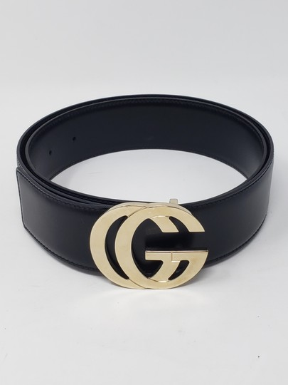 Gucci Black leather Gucci gold-tone GG logo hip belt Image 4
