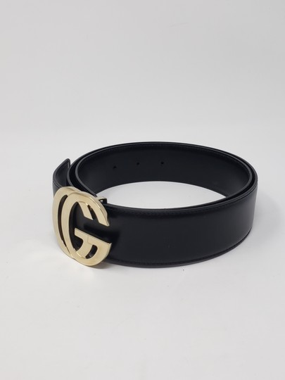 Gucci Black leather Gucci gold-tone GG logo hip belt Image 5