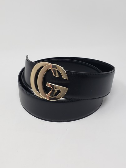 Gucci Black leather Gucci gold-tone GG logo hip belt Image 6