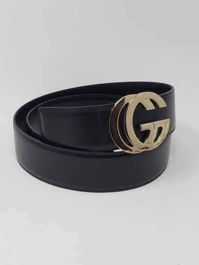 Gucci Black leather Gucci gold-tone GG logo hip belt Image 7