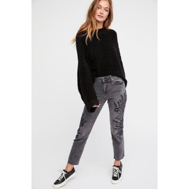 Free People Floral Embroidered Boyfriend Cut Jeans-Dark Rinse Image 2