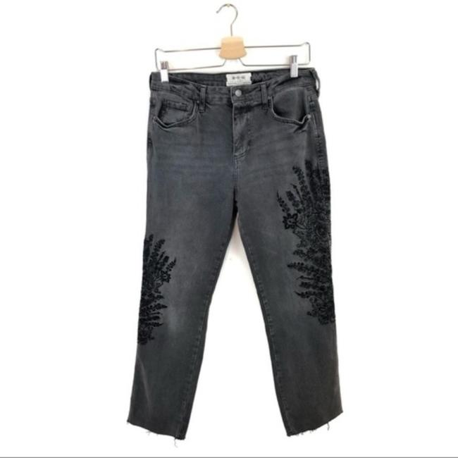 Free People Floral Embroidered Boyfriend Cut Jeans-Dark Rinse Image 4