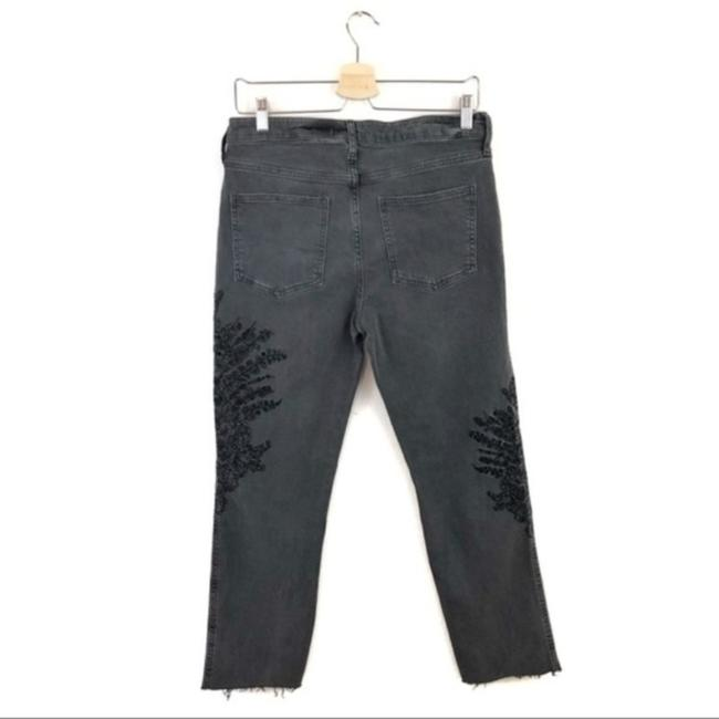 Free People Floral Embroidered Boyfriend Cut Jeans-Dark Rinse Image 5