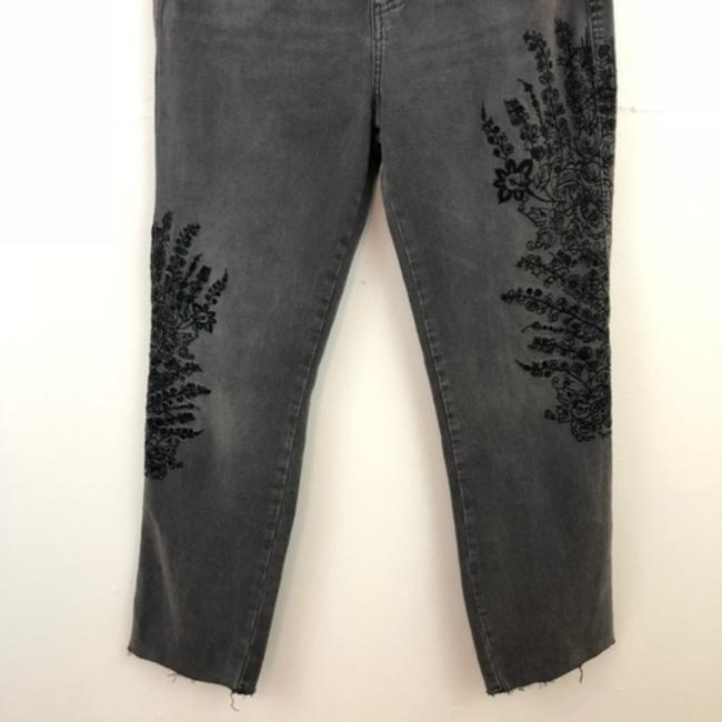 Free People Floral Embroidered Boyfriend Cut Jeans-Dark Rinse Image 7
