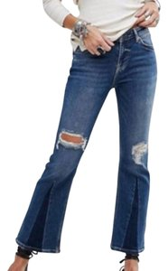 Free People Cropped Color-blocking High Rise High Waist Flare Leg Jeans-Medium Wash