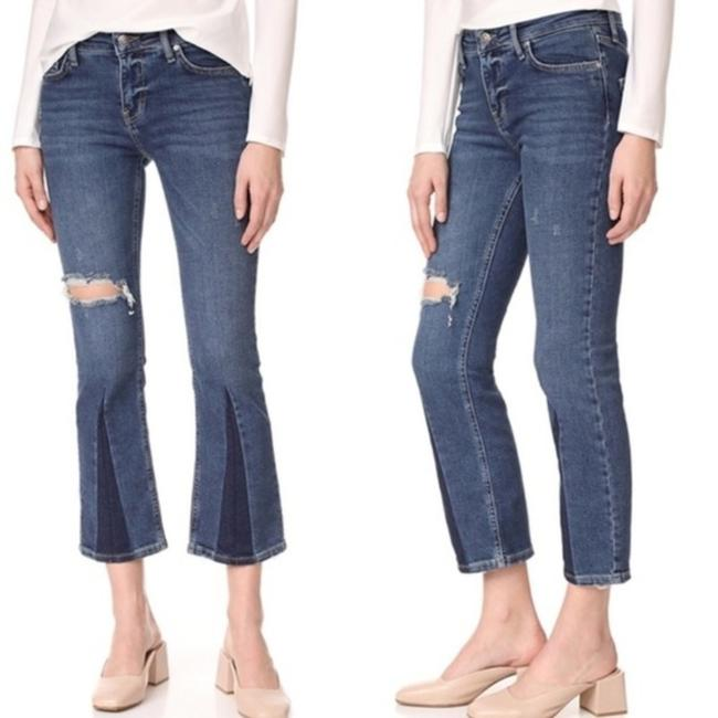 Free People Cropped Color-blocking High Rise High Waist Flare Leg Jeans-Medium Wash Image 1