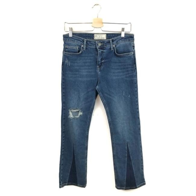 Free People Cropped Color-blocking High Rise High Waist Flare Leg Jeans-Medium Wash Image 3