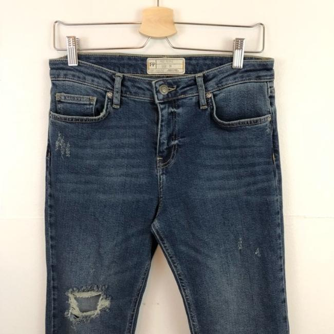Free People Cropped Color-blocking High Rise High Waist Flare Leg Jeans-Medium Wash Image 5