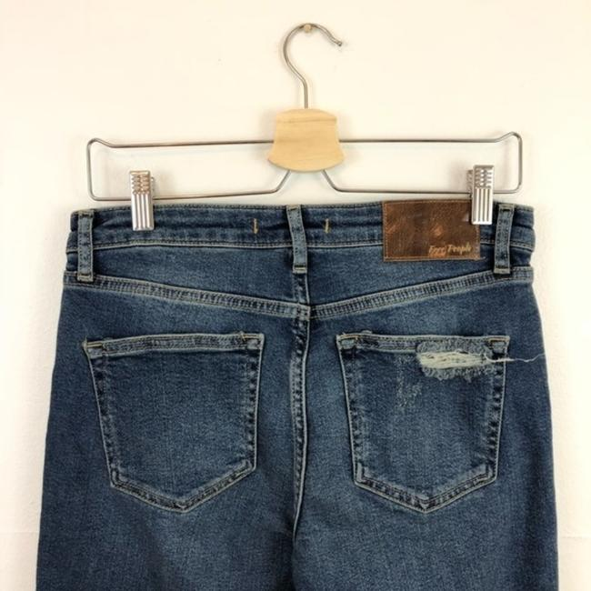 Free People Cropped Color-blocking High Rise High Waist Flare Leg Jeans-Medium Wash Image 7