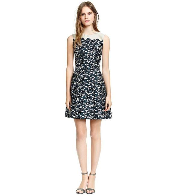 Item - Navy Blue Black Grey Silver Rayna Iris Flower Floral Print Silk Wool A Line Satin Sleeveless Mid-length Night Out Dress Size 12 (L)
