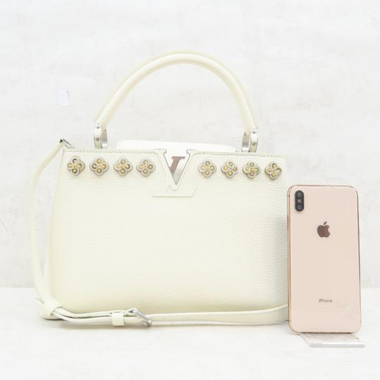 Louis Vuitton Lv Capucines Pm Azur Satchel in White Image 1