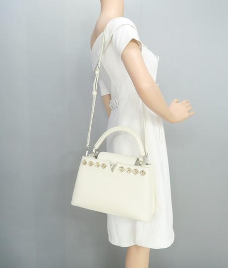 Louis Vuitton Lv Capucines Pm Azur Satchel in White Image 11