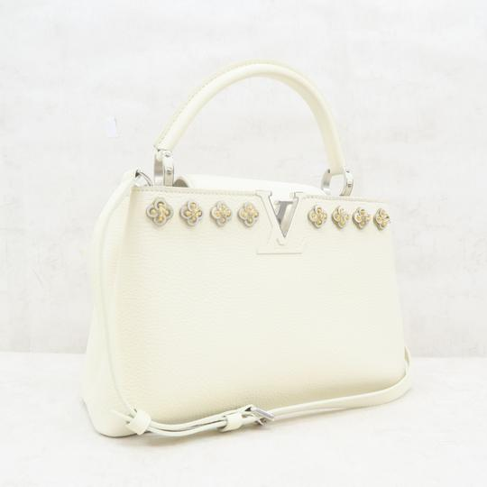Louis Vuitton Lv Capucines Pm Azur Satchel in White Image 3