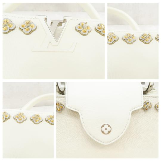 Louis Vuitton Lv Capucines Pm Azur Satchel in White Image 7