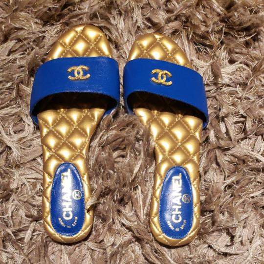 Preload https://item2.tradesy.com/images/chanel-blue-cc-leather-slides-sandals-size-eu-38-approx-us-8-regular-m-b-26346841-0-0.jpg?width=440&height=440