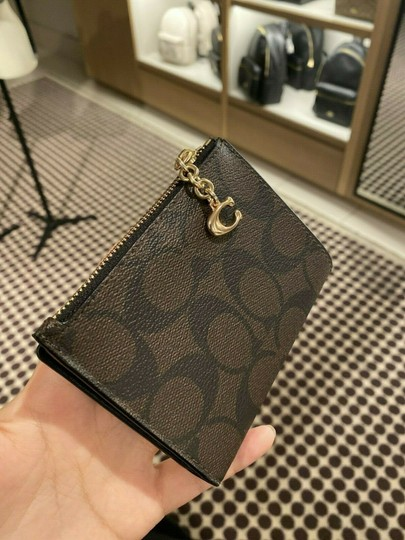 Coach COACH SNAP CARD CASE SMALL WALLET F78002 Brown/black Image 1