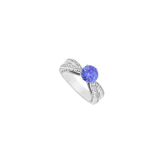 DesignerByVeronica Diamond and Tanzanite Engagement Ring in 14K White Gold 1.25 Carat TGW Image 0