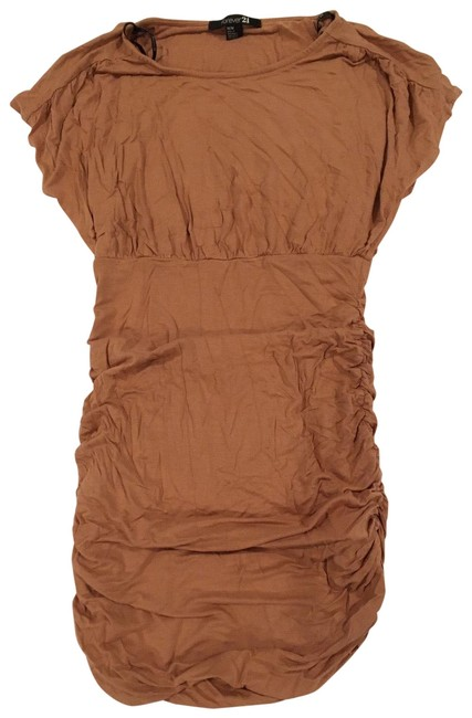Preload https://img-static.tradesy.com/item/26346966/forever-21-tan-ruched-short-casual-dress-size-8-m-0-3-650-650.jpg
