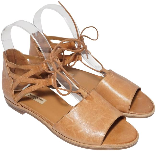 Item - Brown Tan Morea Lace-up Flat Cushioned Cuoio Leather Sandals Size US 6 Regular (M, B)