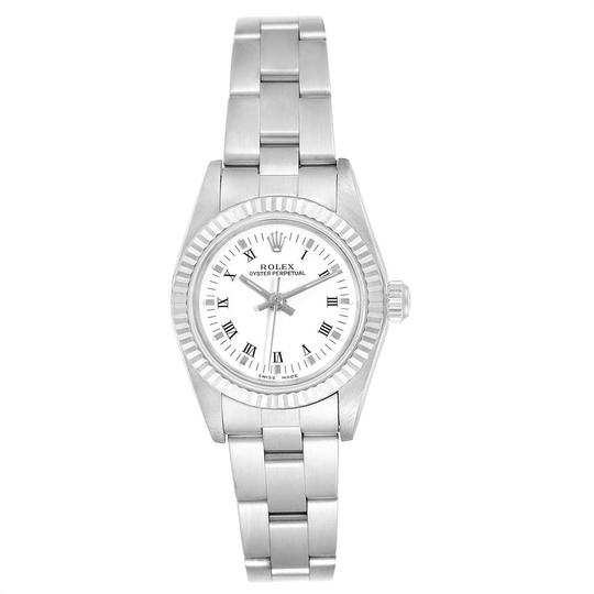 Rolex Rolex Oyster Perpetual Steel White Gold Ladies Watch 76094 Box Papers Image 1