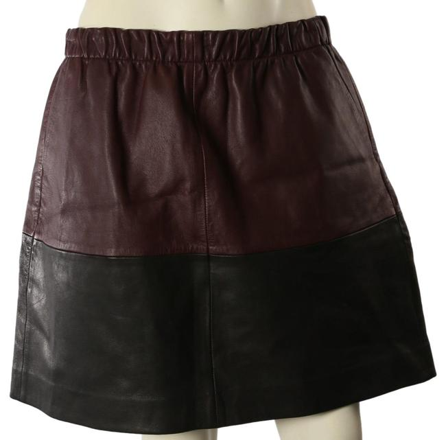 Item - Brown Black Leather Elastic Waist A Line Skirt Size 8 (M, 29, 30)