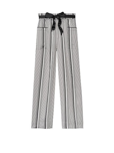 Item - Black & White Striped Satin Pj M New Pants Size 8 (M, 29, 30)