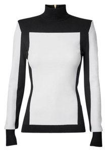 Balmain x H&M Color-blocking Zip Knit Turtleneck Top Black & White