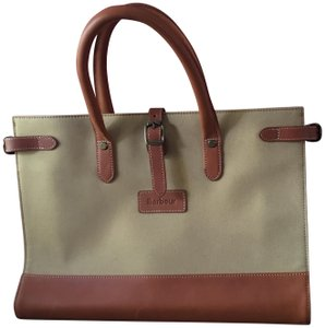 Barbour Canvas Leather Satchel in Tan