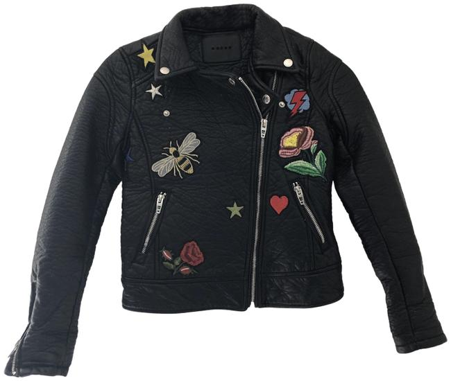 Item - Black Faux Cropped Embroidered Patches Medium Jacket Size 8 (M)