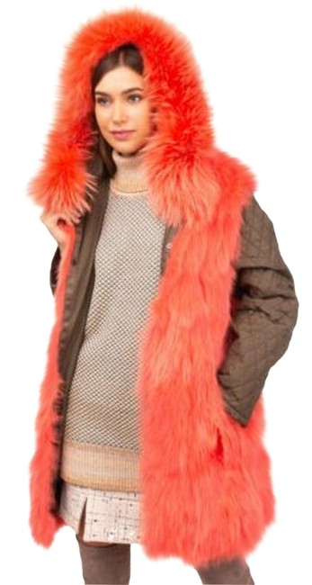 Army by Yves Salomon Green Neon Pink Raccoon Fur Jacket Size 8 (M) Army by Yves Salomon Green Neon Pink Raccoon Fur Jacket Size 8 (M) Image 1