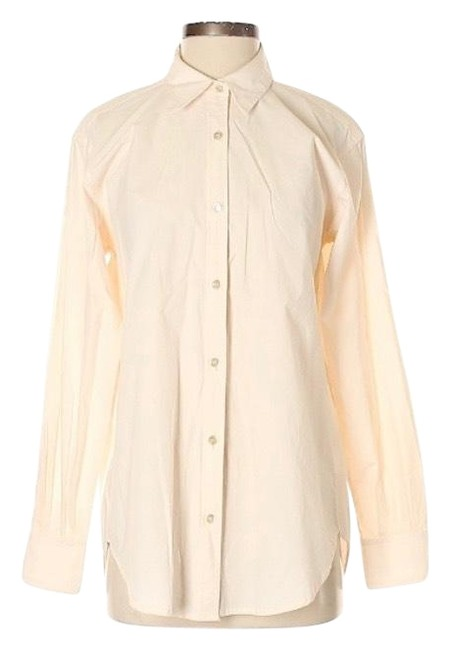 Item - Beige Long Sleeve Career Shirt Button-down Top Size 4 (S)